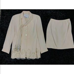 Rickie Freeman For Teri Jon Blush Silk Skirt Suit